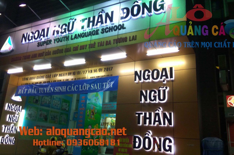 Thi công bảng hiệu quảng cáo cho hệ thống Trường ngoại ngữ Thần Đồng