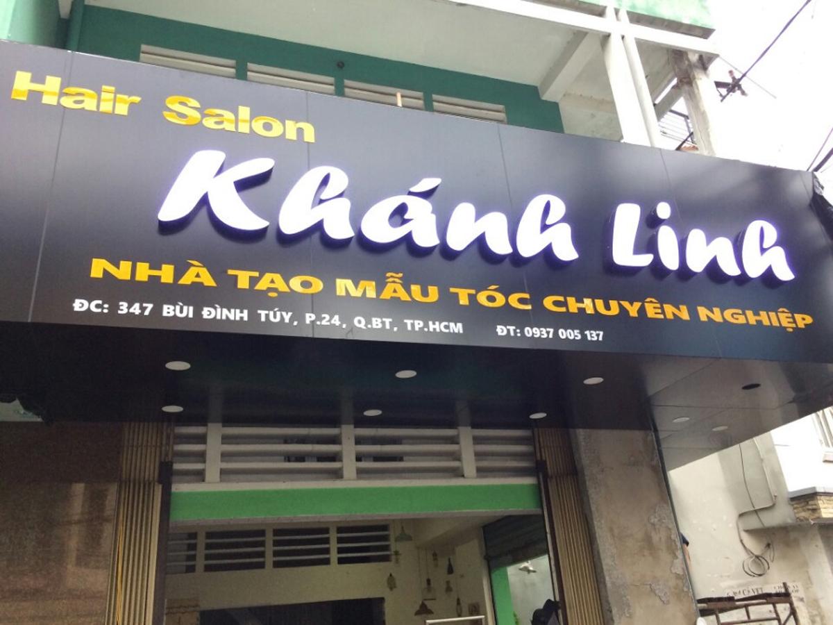 Bảng aluminium chữ nổi mica led Salon Khánh Linh Bình Thạnh