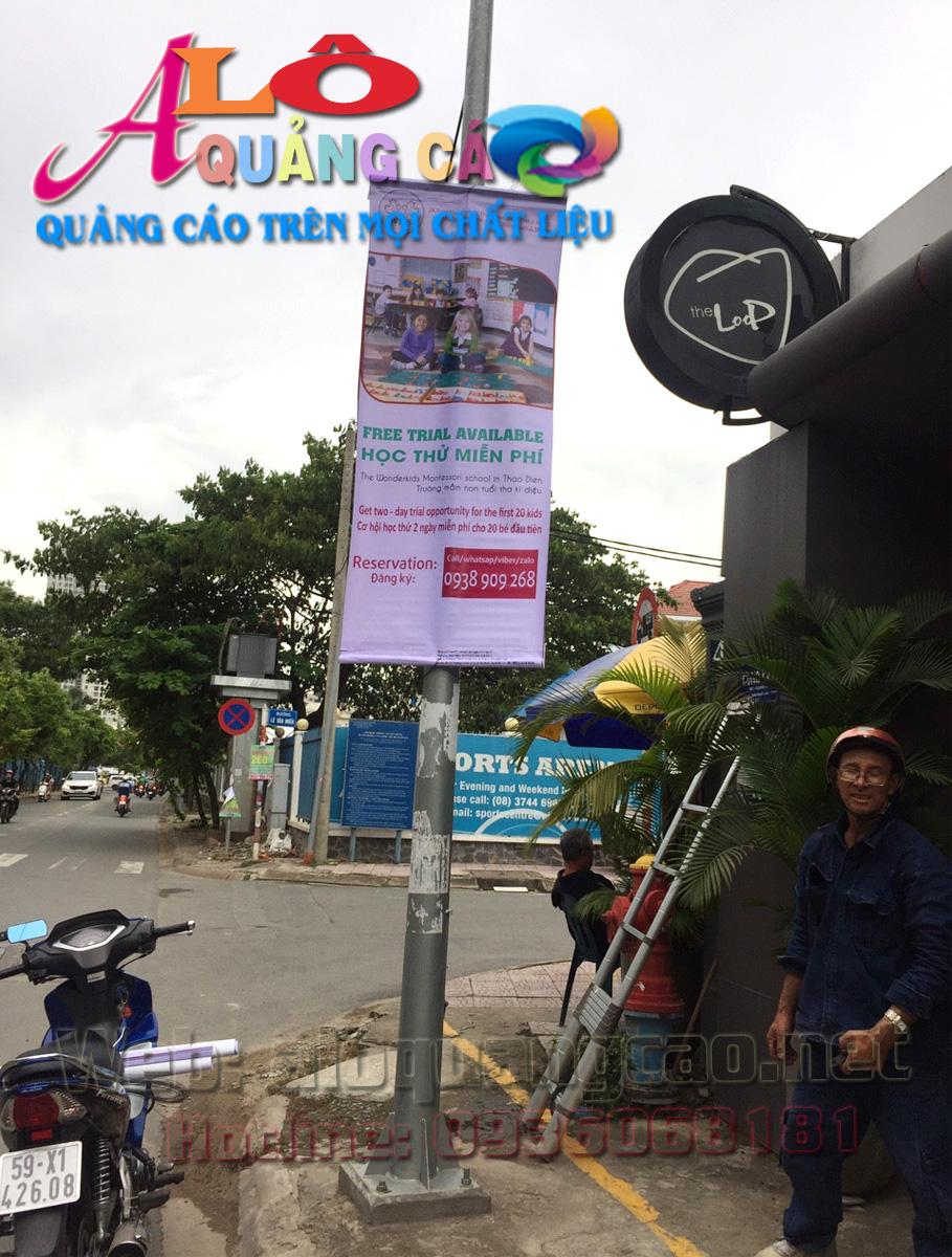 Ban rôn quảng cáo hệ thống trường tiểu học WonderKids tại Xuân Thủy Quận 2