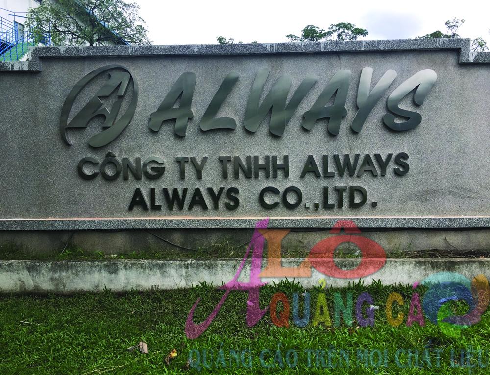 Thi công lắp đặt hoàn thiện chữ nổi inox trắng xước công ty Always KCX Tân Thuận Quận 7