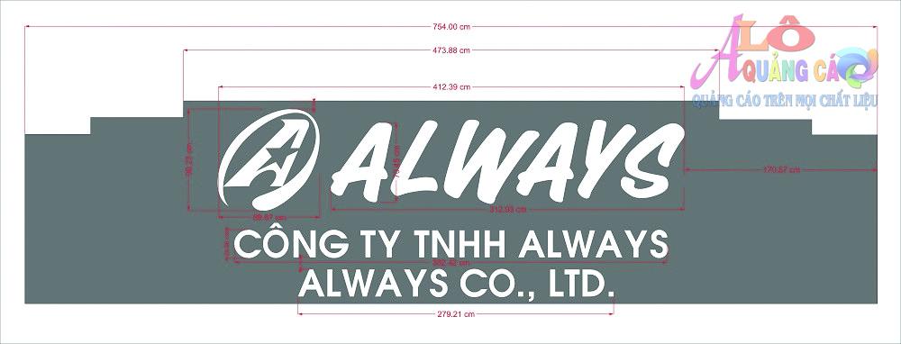 Khảo sát thiết kế bảng hiệu chữ nổi inox công ty Always Quận 7