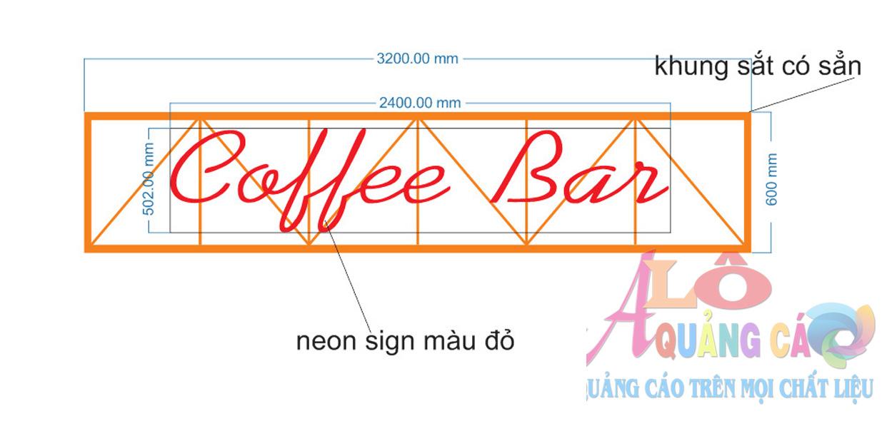 Bản vẽ thiết kế bộ neon sign Coffee Bar tại Quận 1