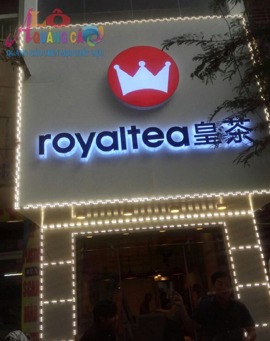 Mặt dựng aluminium chữ nổi mica led thương hiệu Royal Tea