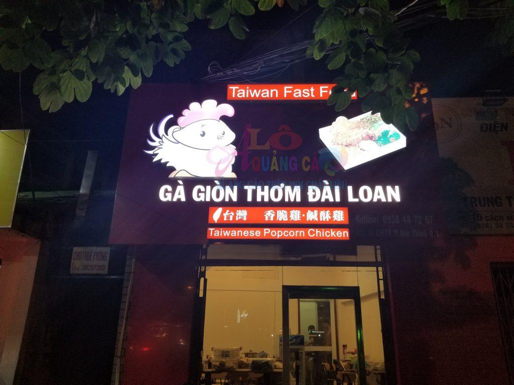 Thi công bảng hiệu alu chữ nổi mica led Taiwan Fast Food Quận 1