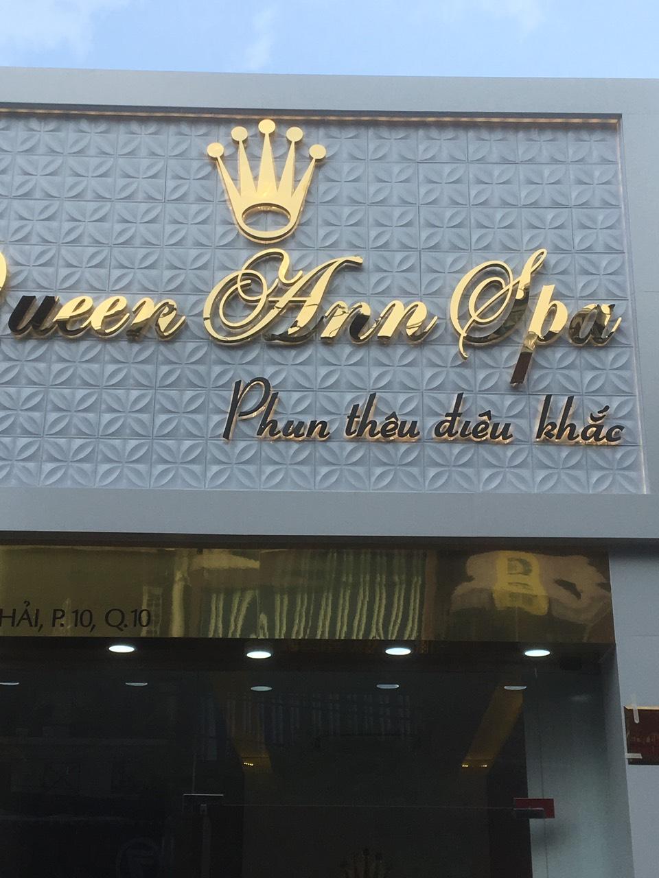 Thi công bảng hiệu tại Queen Ann Spa tại TPHCM