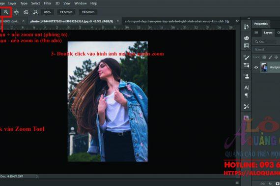 Phóng to thu nhỏ di chuyển vùng làm việc bằng Photoshop