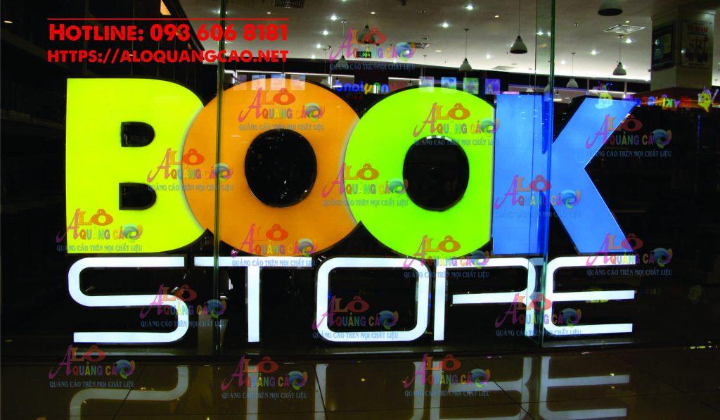 Bộ logo chữ nổi mica chân viền inox đèn led Book Store Quận 11 HCM