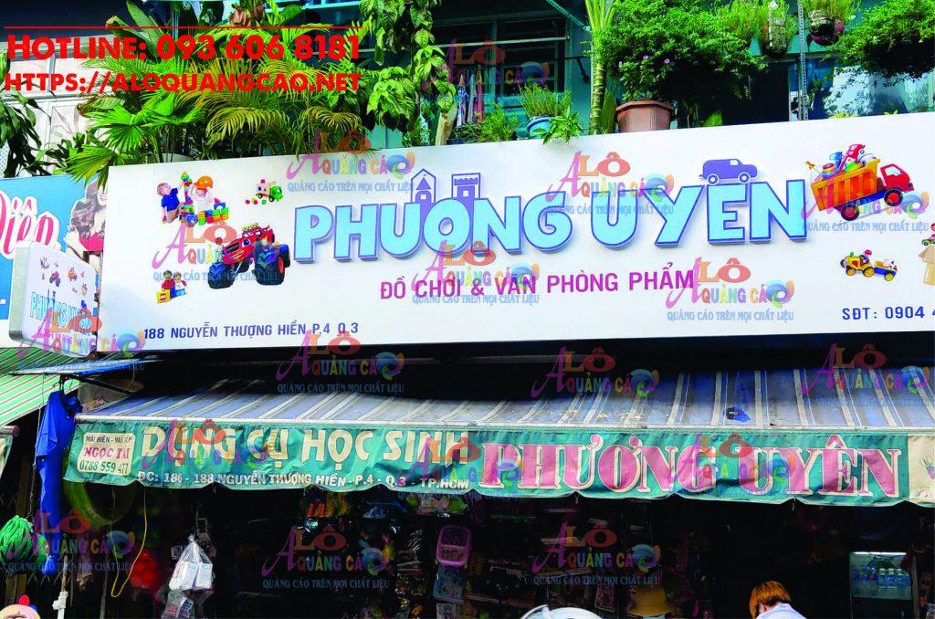 Thiết kế bảng hiệu văn phòng phẩm Phương Uyên Quận 3 TP HCM